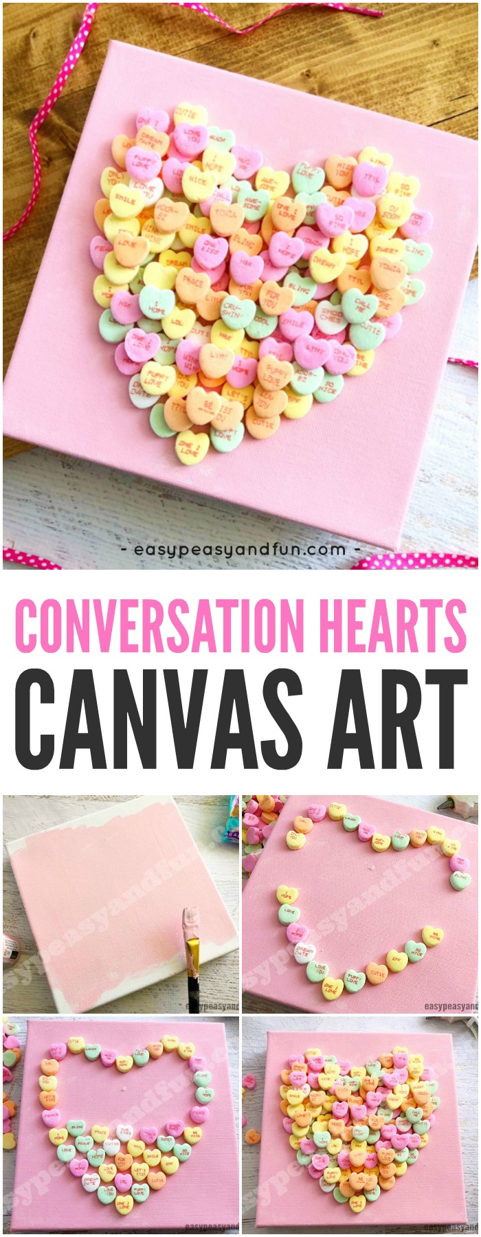 Conversation Heart Canvas Art Valentine's Day Activity for Kids #valentinesdaycrafts #artideasforkids #craftsforkids