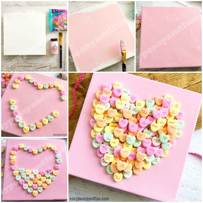 Conversation Heart Canvas Art for Kids to Make