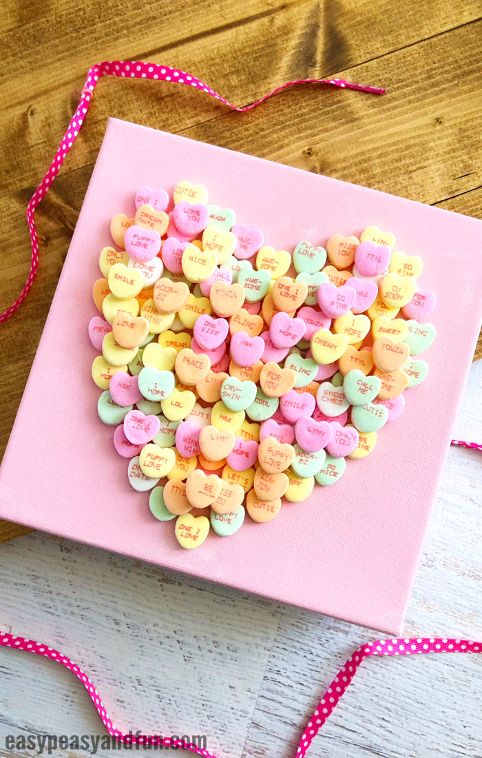 Conversation Heart Canvas Valentine's Day Art Idea for Kids
