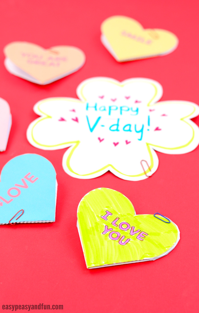 Conversation Hearts Printable Cards Valentine's Day Craft for Kids