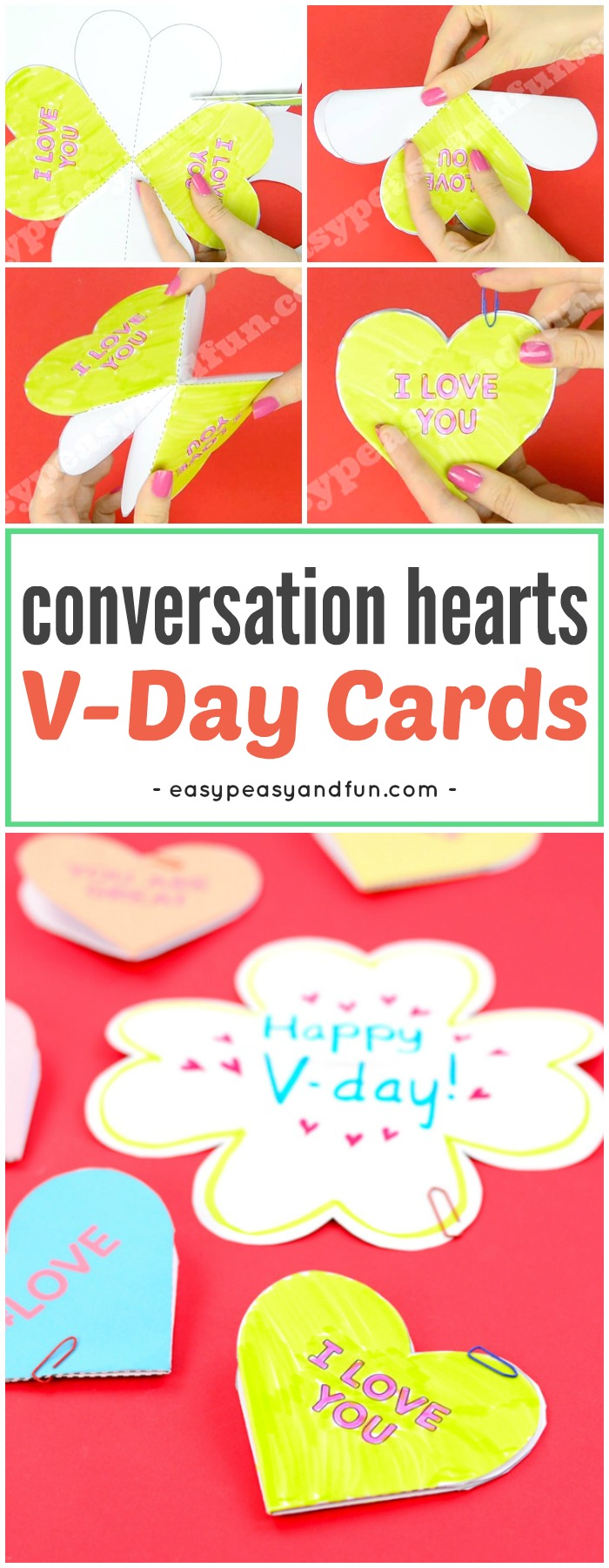 Conversation Hearts Valentines Day Cards. Fun Valentine's day craft with printable templates for kids. #Valentinesdaycraftsforkids #papercraftsforkids #Valentinesdaycardideas