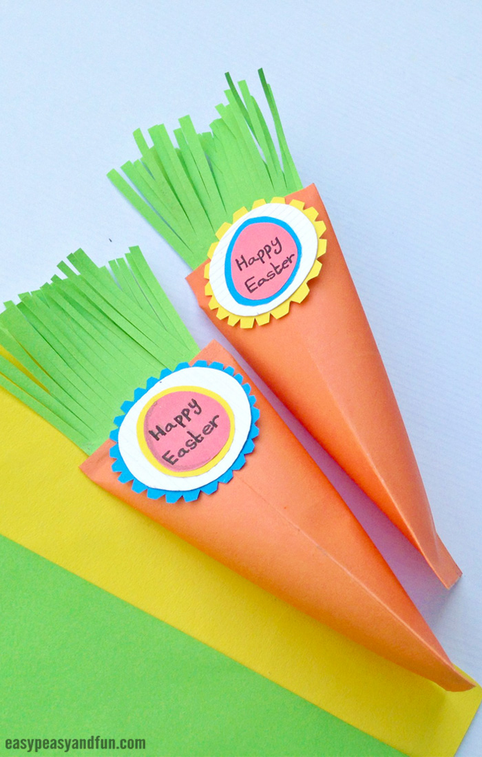 Easter Carrot Treat Box Craf for Kidst with Printable Template
