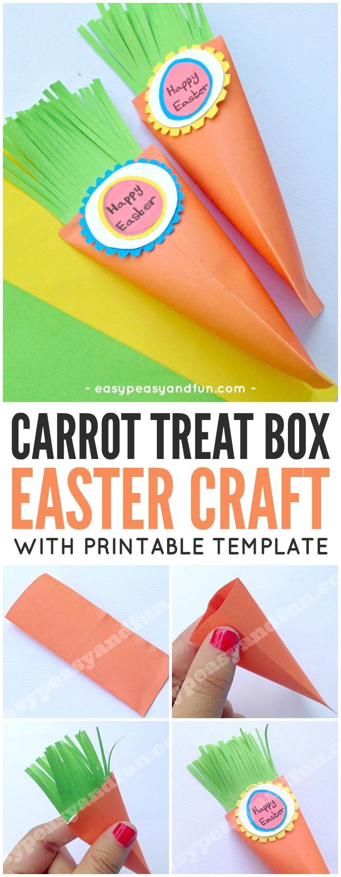 Easter Carrot Treat Box Craft for Kids with Printable Template. Fun Easter Paper Craft Idea for Kids.