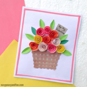 DIY Rolled Paper Roses Valentines Day Card