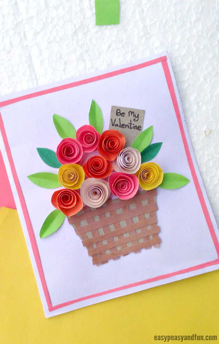 Diy rolled paper roses valentines day or mothers day card easy how to make a rolled paper roses valentines day card flower basket paper craft for kids to make mightylinksfo