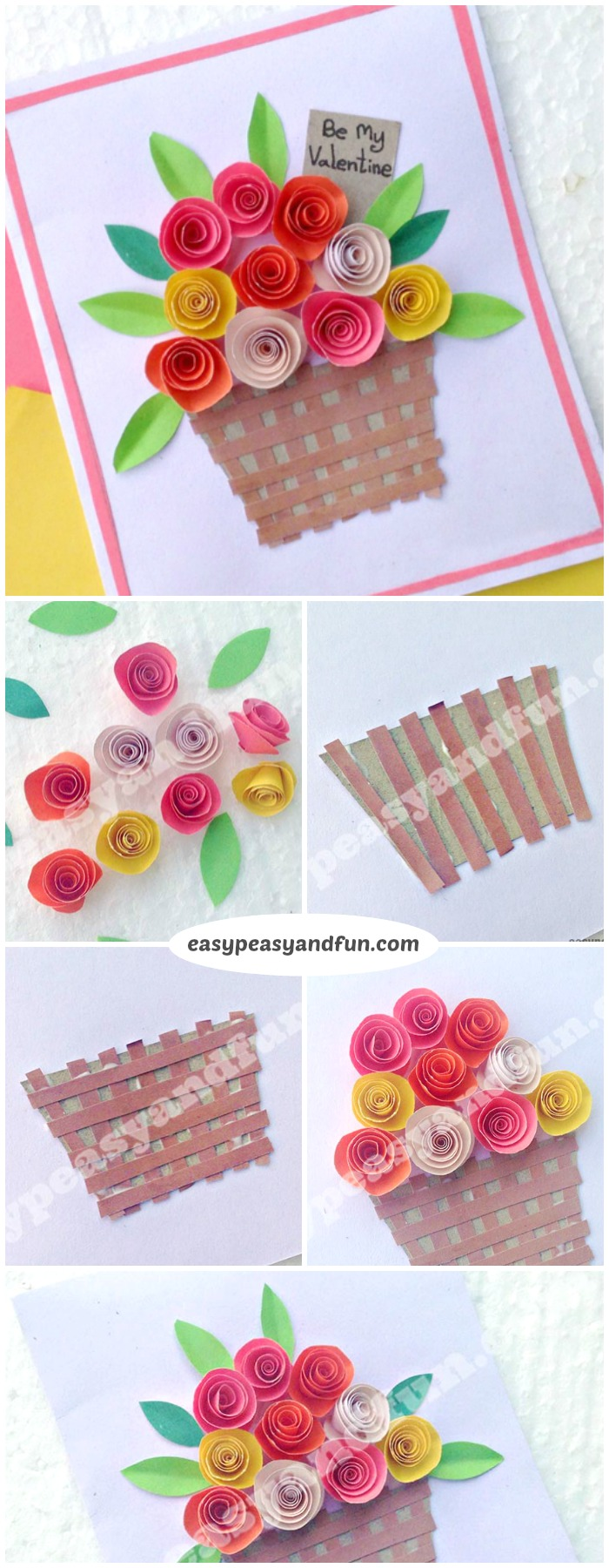 Diy rolled paper roses valentines day or mothers day card easy flower basket paper craft for kids super simple spring craft project for kids to make mightylinksfo