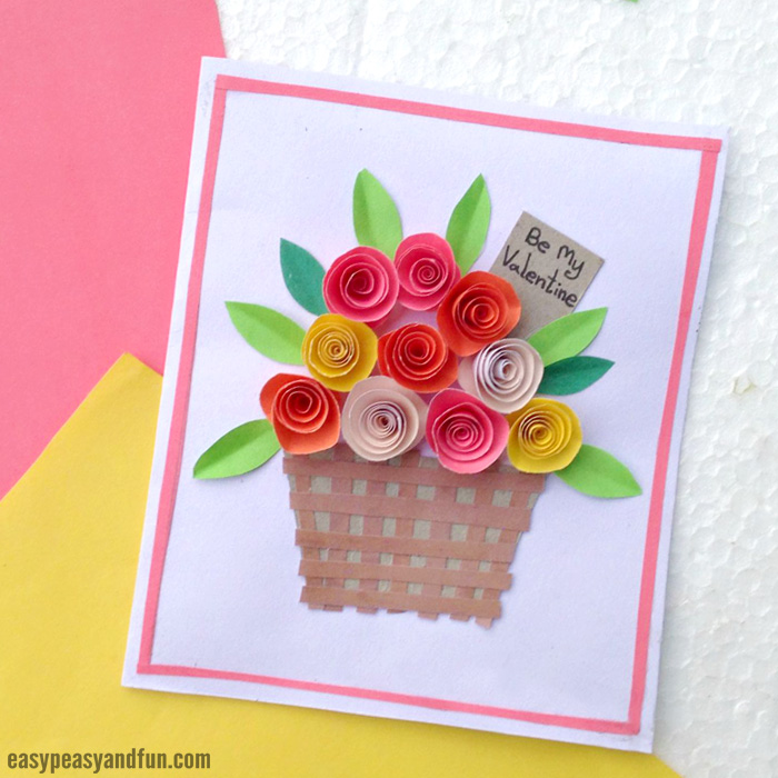 Easy Paper Craft Ideas For Kids Part - 43: Flower Basket Paper Craft For Kids