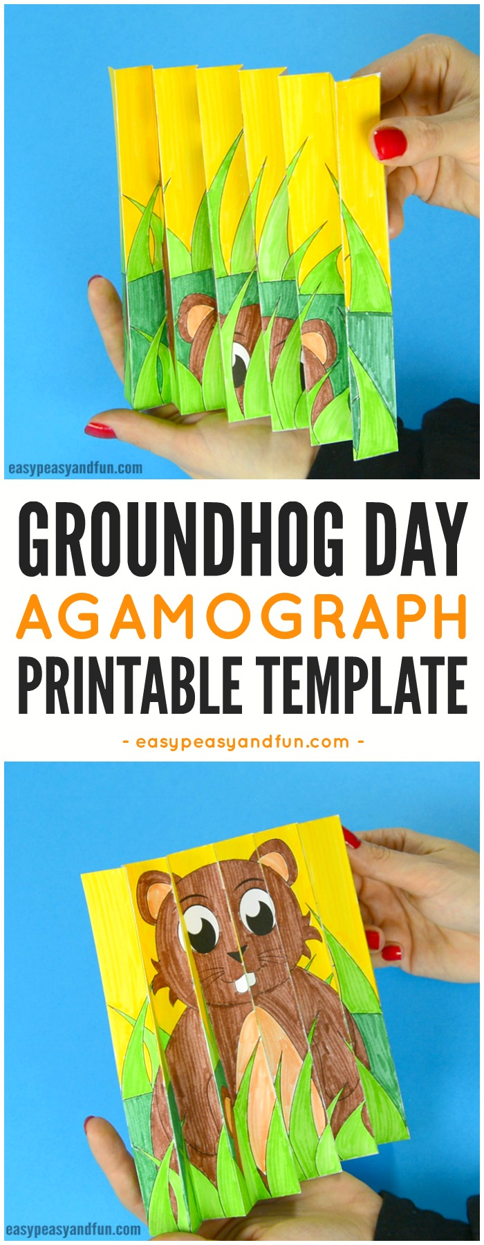 Groundhog Day Agamograph Template Paper Craft for Kids #agamographtemplate #papercraftsforkids #craftsforkids