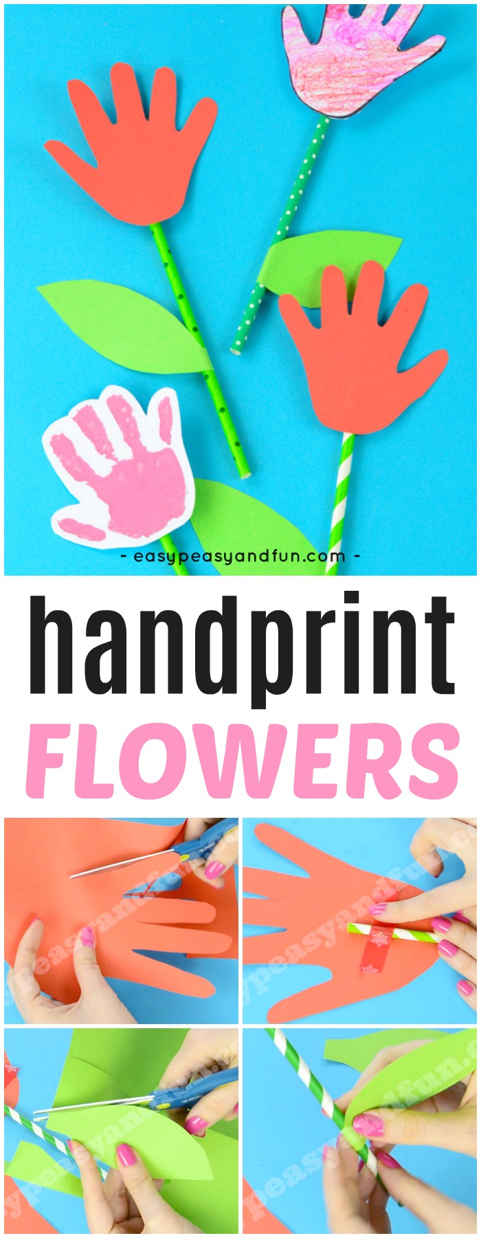 Handprint Flower Craft. Simple and fun Spring craft idea for kids to make. #handprintcrafts #flowercrafts #Springcrafts