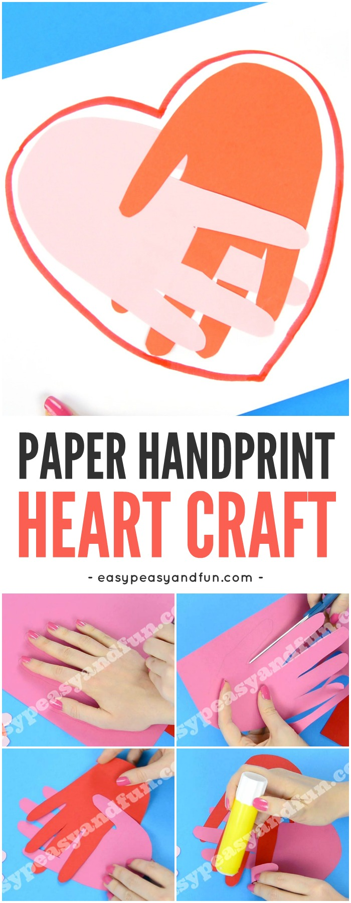 Handprint Heart Craft for Kids. Simple Valentines Day Craft for Kids. #valentinesdascrafts #papercraftsforkids #handprintcrafts