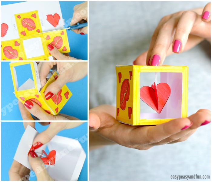 Heart Box Paper Craft Idea for Kids