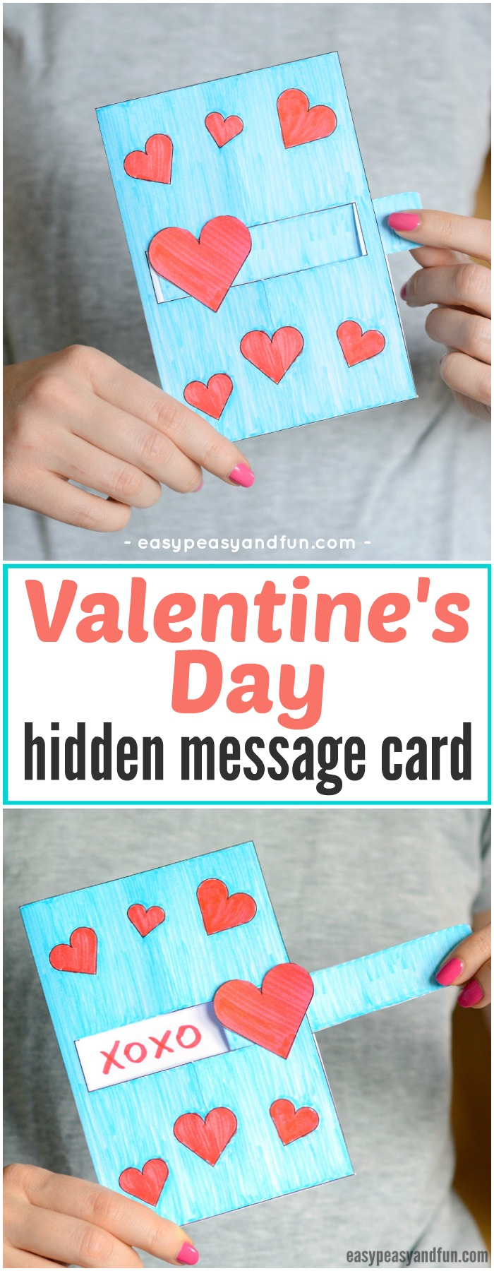 Hidden Message Valentine's Day Card Idea for Kids. Super fun paper craft for kids to make for Valentine's day. #Valentinesdaycrafts #papercraftsforkids #DIYcardideaforkids