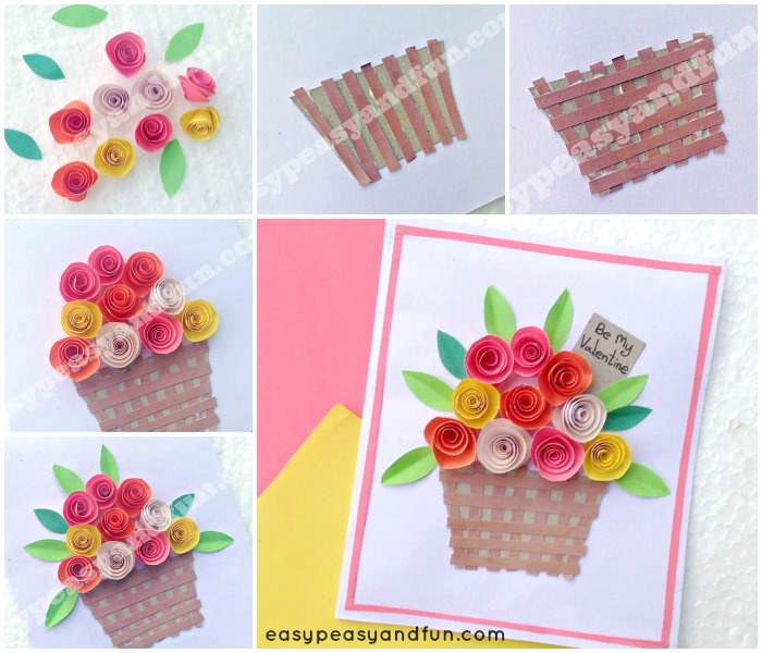 Diy rolled paper roses valentines day or mothers day card easy lovely flower basket paper craft mightylinksfo