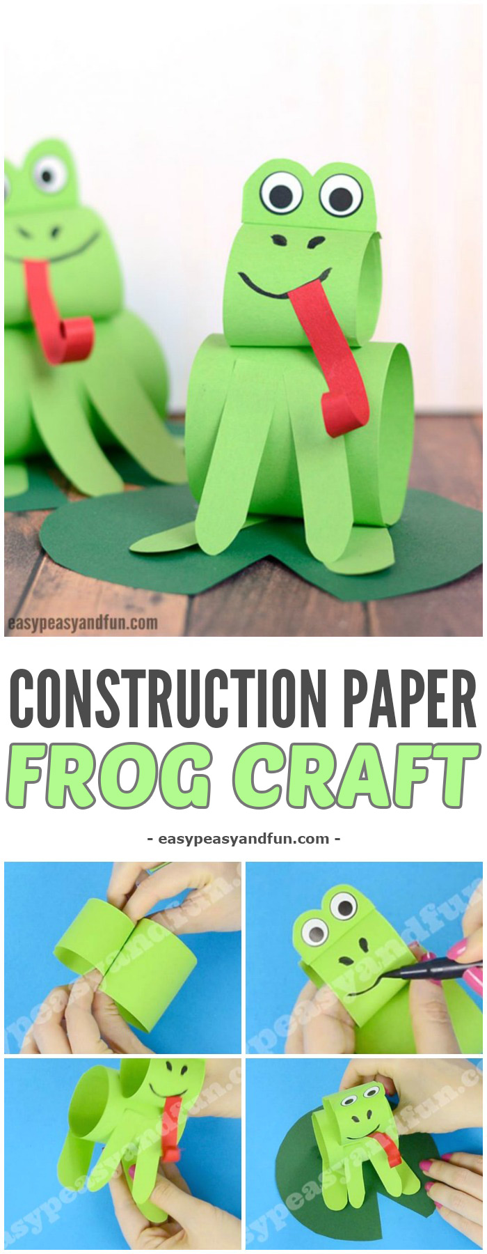 Construction Paper Frog Craft Sitting On A Water Lily Leaf Easy