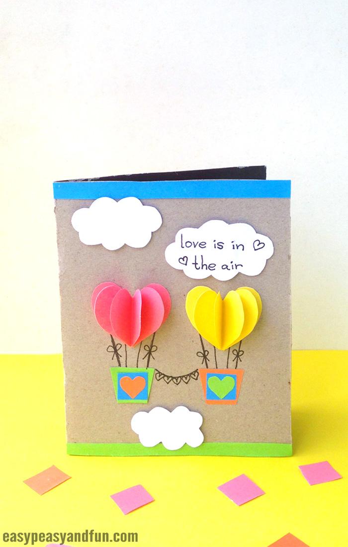 Paper Heart Air Balloons Card Craft