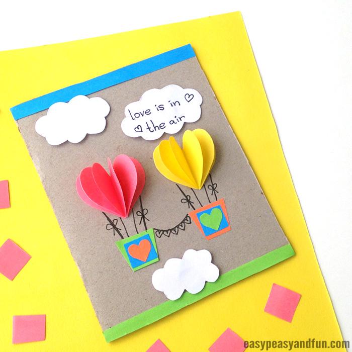 Paper Heart Air Balloons Card