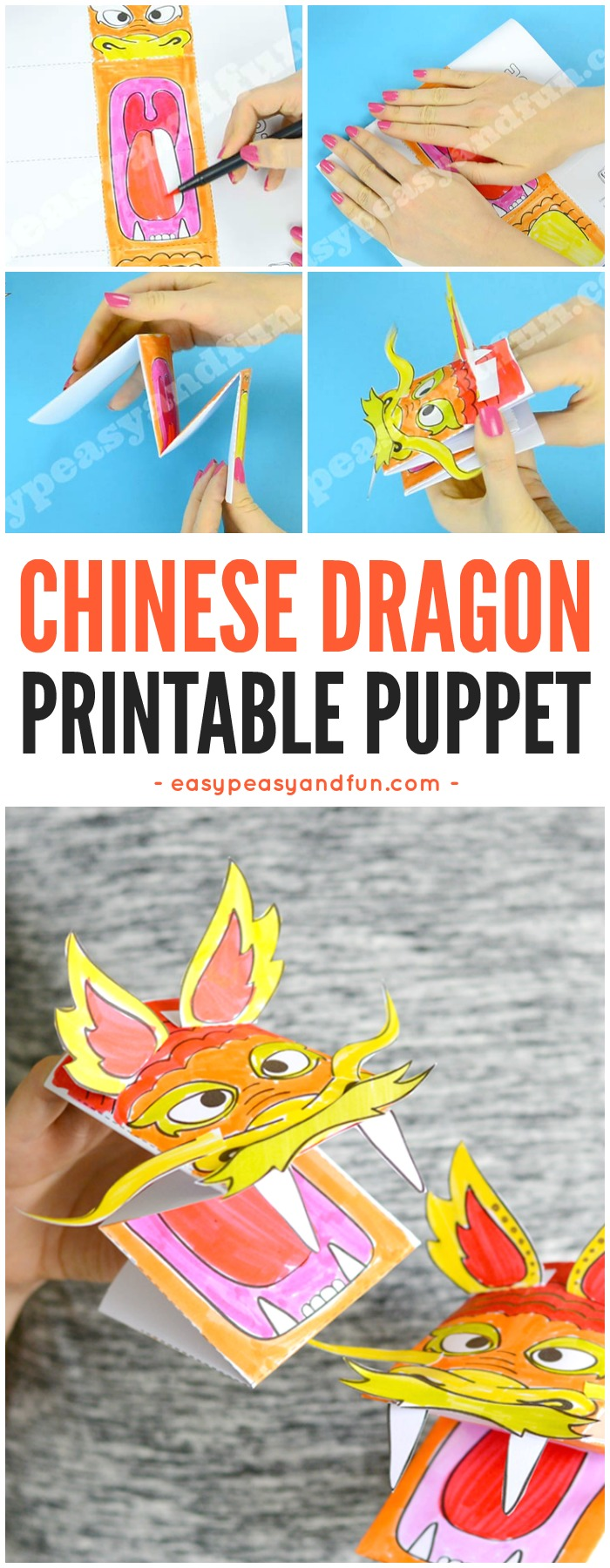 Printable Chinese Dragon Puppet Craft with Template. Fun Chinese New Year Craft for Kids to Make. #Chinesenewyearcrafts #printablepuppet #papercraftsforkids
