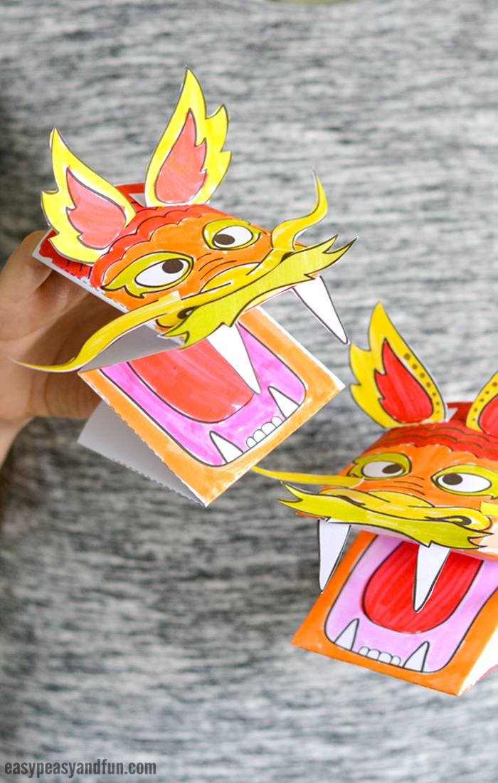 Printable Chinese Dragon Puppet Craft with Template