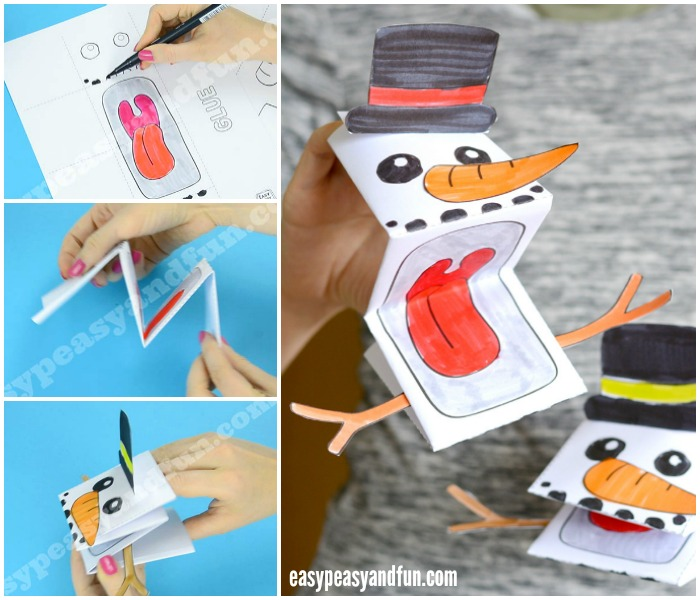 Printable Snowman Puppet Craft Template
