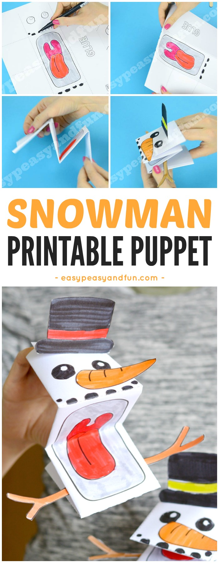 Printable Snowman Puppet Craft for Kids. Fun Winter craft idea for kids to make. #Wintercrafts #snowmancrafts #printablepuppet