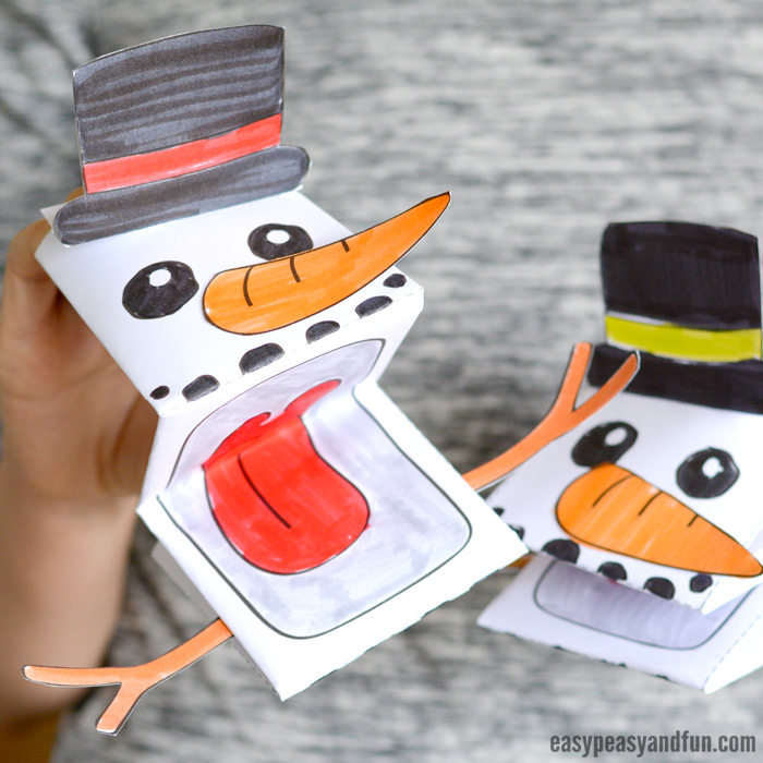 Printable Snowman Puppet Template Craft