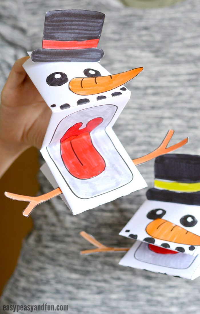 Printable Snowman Puppet Template
