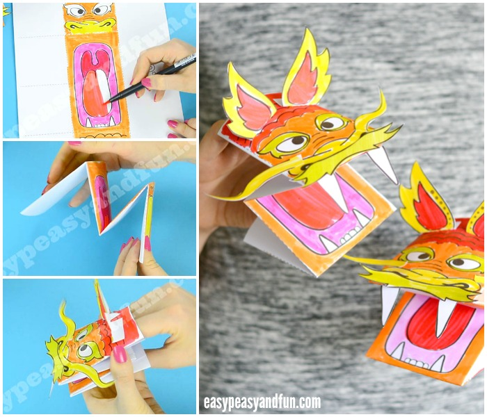 Printable Template Chinese Dragon Puppet