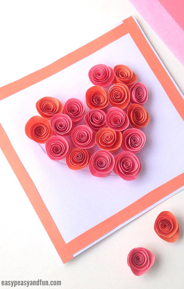 Rose Filled Heart Card Craft for Kids