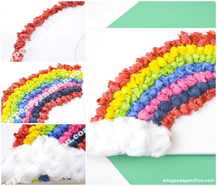 Tissue Paper Rainbow Canvas Art Easy Peasy And Fun