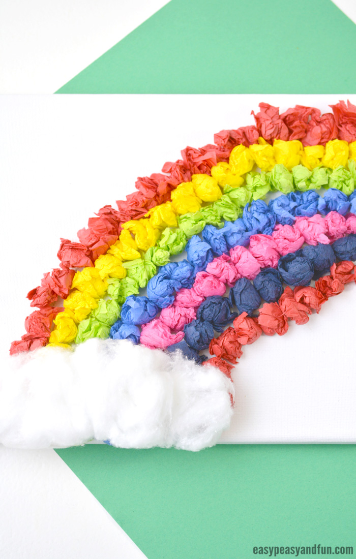 Tissue Paper Rainbow Canvas Art Idea for Kids