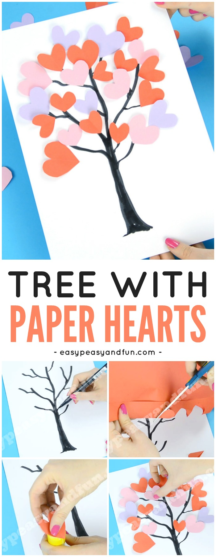 Tree With Paper Hearts Art Valentine's day Craft for Kids #Valentinesdaycraftsforkids #heartcraftsforkids #craftsforkids