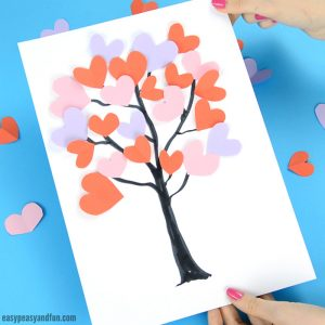 Tree With Paper Hearts Craft for Kids Idea