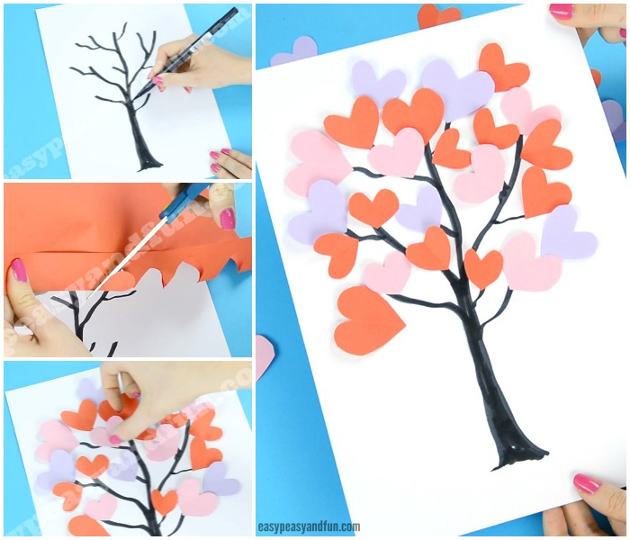 Tree With Paper Hearts Craft for Kids to Make