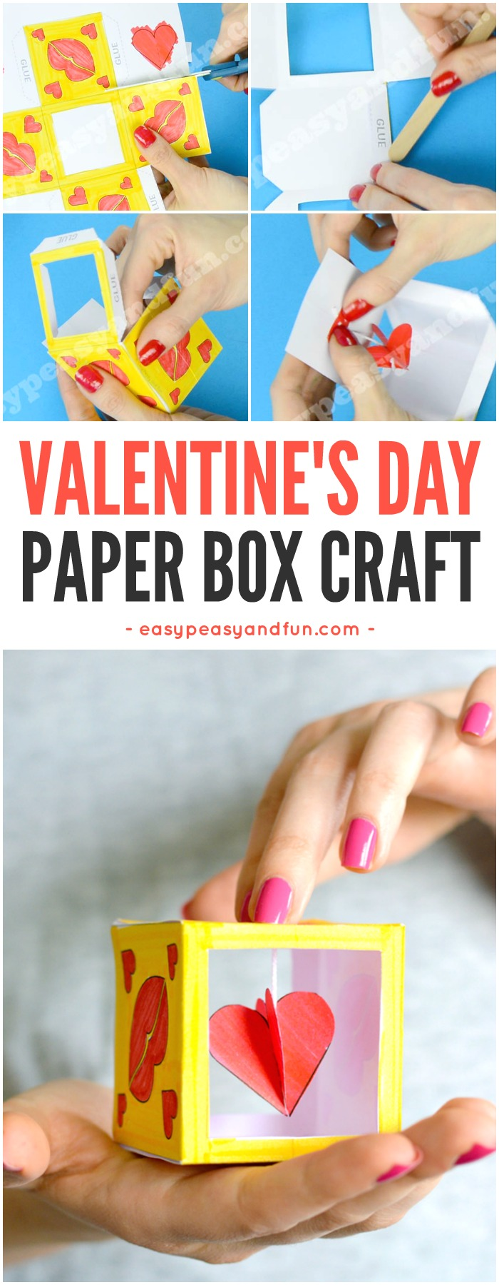 Valentine's day box paper craft for kids to make. Fun paper craft idea to keep the kids busy and entertained. #Valentinesdaycraftsforkids #papercraftsforkids #heartcraftsforkids