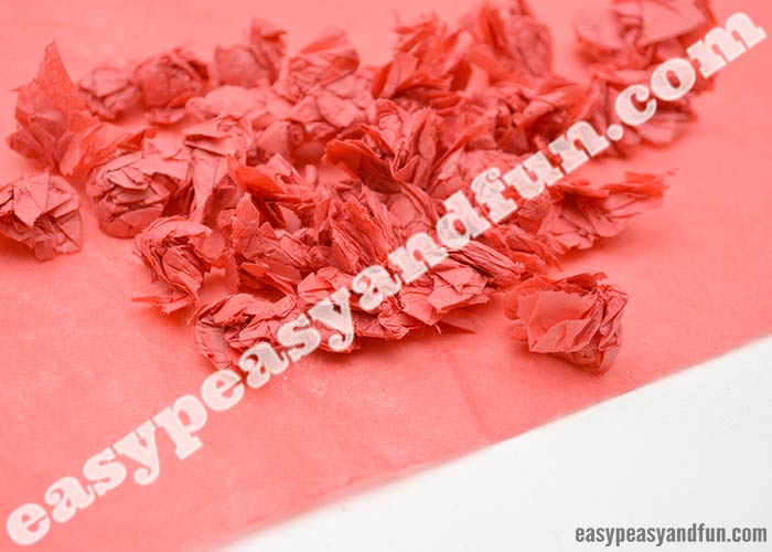 8f85a69ef7e Tear small pieces of tissue paper and roll them between your fingers or  hands to get small tissue paper balls. Do it one color at a time.