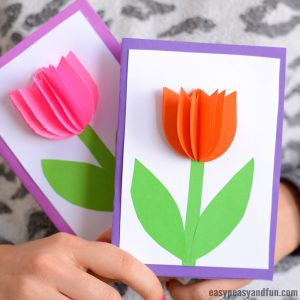 3D Tulip Card Craft for Kids