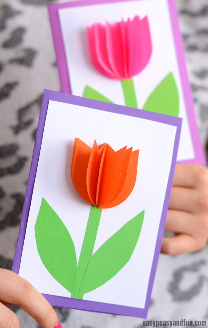 3d Paper Tulip Card Simple Mother S Day Card Idea Easy Peasy And Fun
