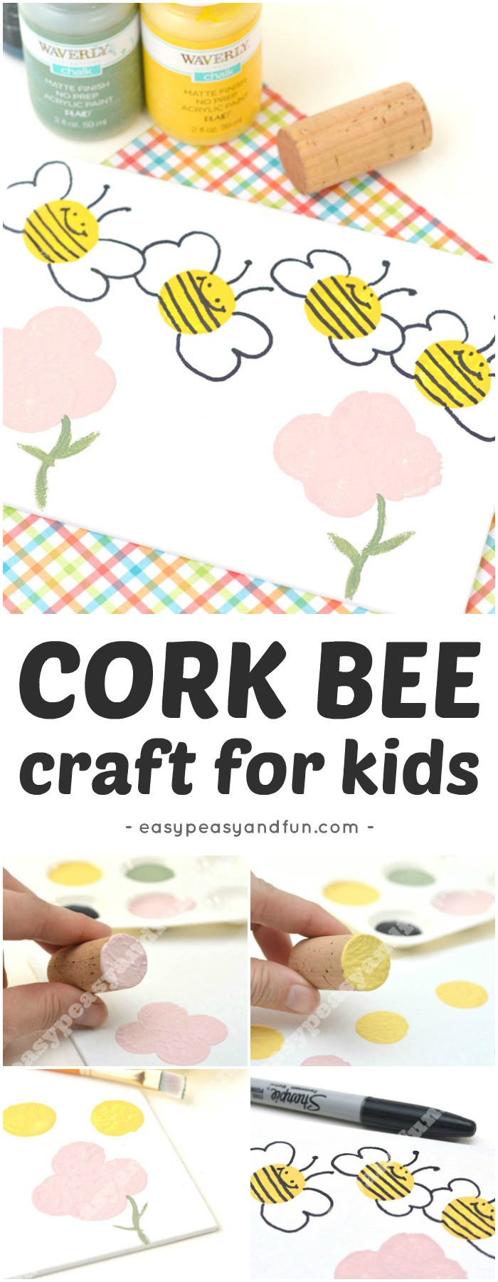 Simple Bee Art Idea - Stamping with Corks #Corkcraftforkids #Springcrafts #beecrafts #toddlerart
