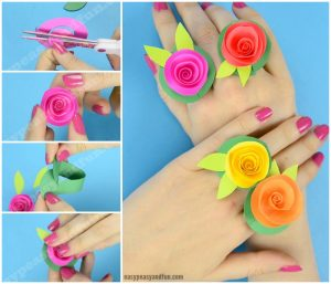 Beautiful Flower Paper Rings