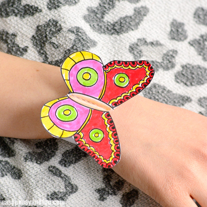 Butterfly Paper Bracelets Printable Template