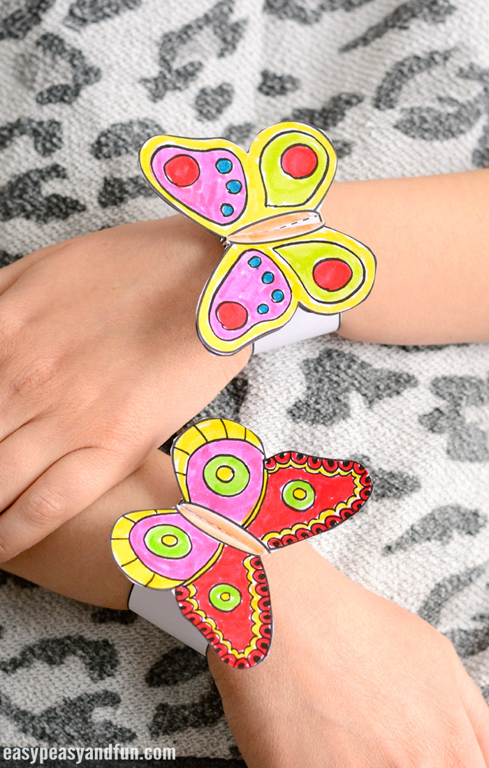 Butterfly Paper Bracelets for Kids With Template