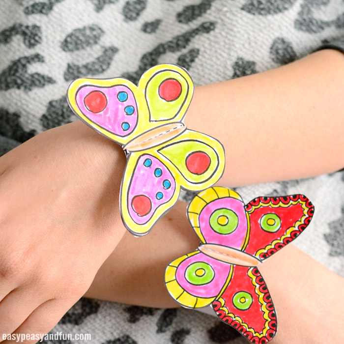 Butterfly Paper Bracelets for Kids