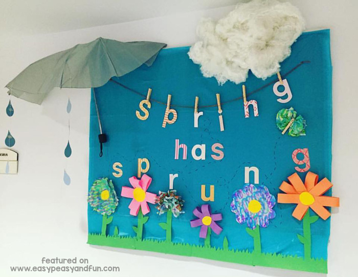 Clever use of umbrella for a bulletin board display