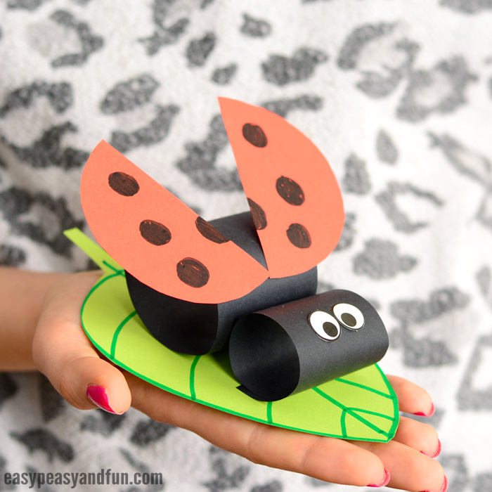 Construction Paper Ladybug on a Leaf Craft