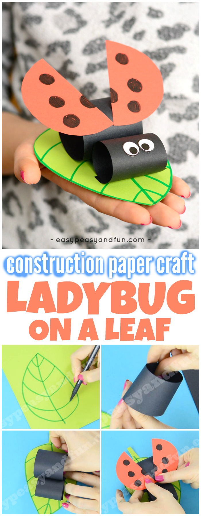 Construction Paper Ladybug On A Leaf Easy Peasy And Fun