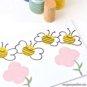 Simple Bee Art Idea – Stamping with Corks