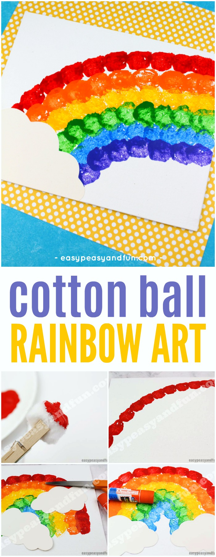 Cotton Ball Rainbow Art Idea for Kids #Springcrafts #rainbowcraft #artforkids