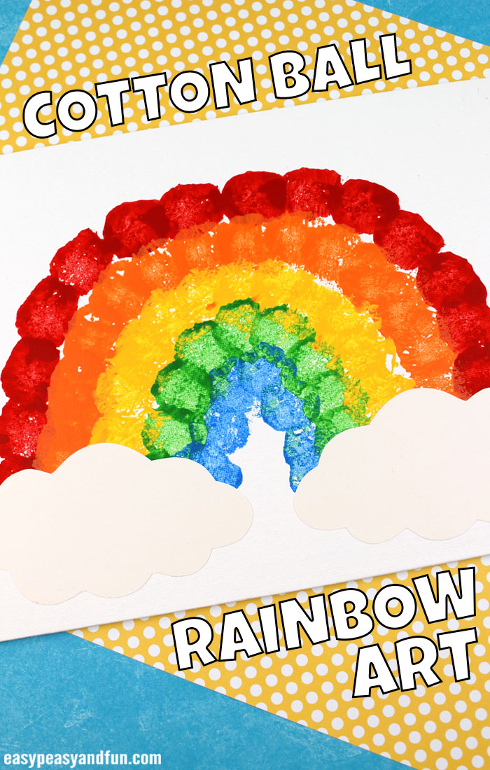 Cotton Ball Rainbow Art for Kids