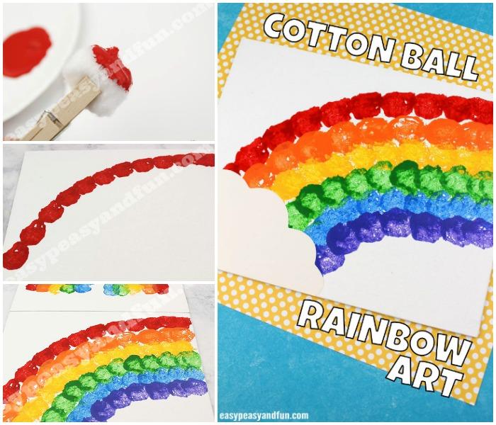 Cotton Ball Rainbow Canvas Art
