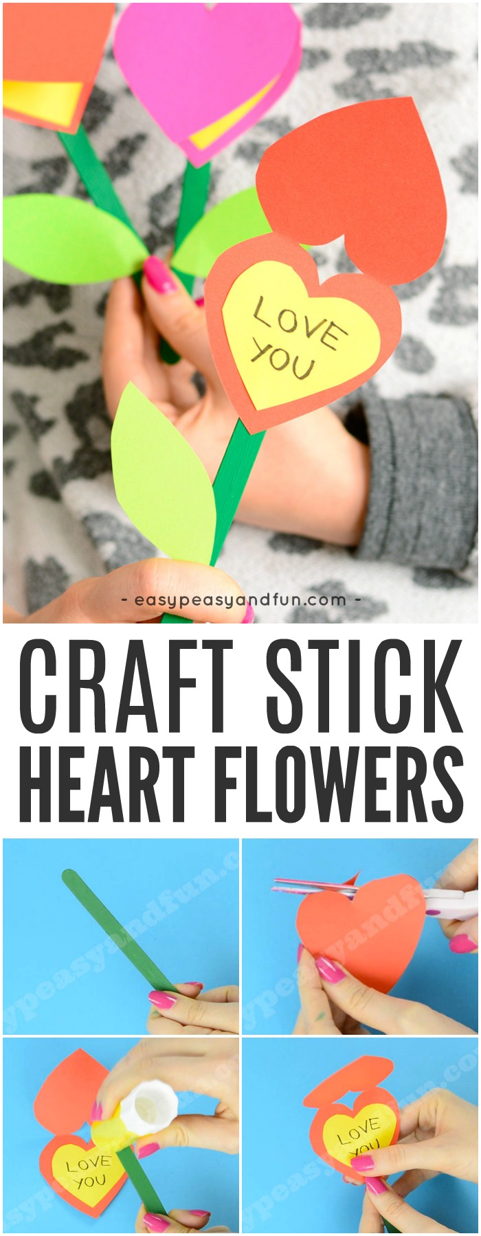 Craft Stick Flowers Craft for Kids #flowercraftsforkids #craftsforkids